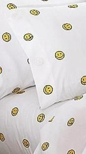 Beau Smiley Smile Yellow Happy Face Full Queen Sheet Set Pillow Case Cover  Bedding