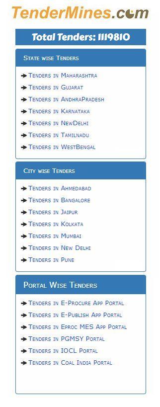 Search Tender  Total Tenders  Tenders Now  Tendermines