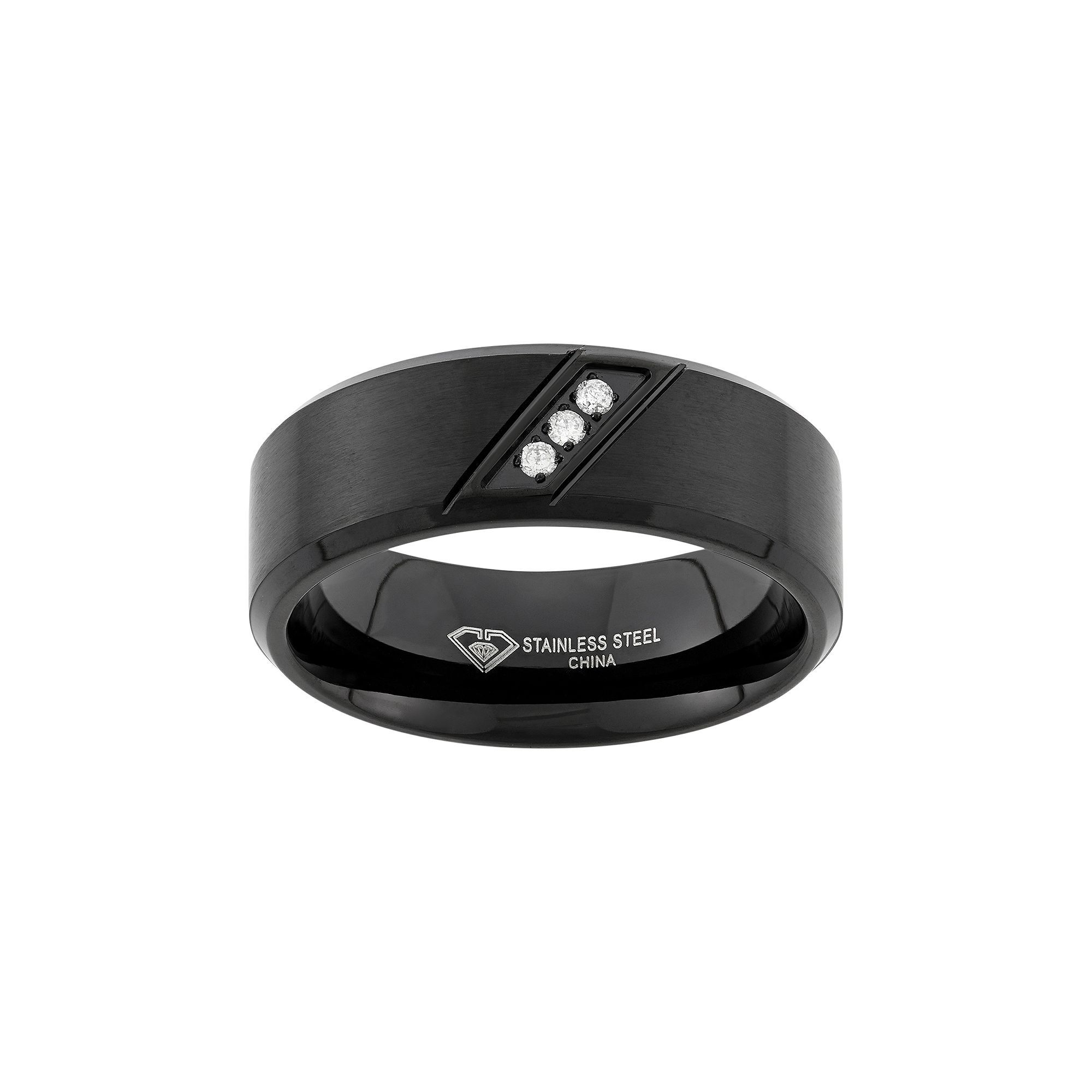 Diamond accent black ionplated stainless steel wedding