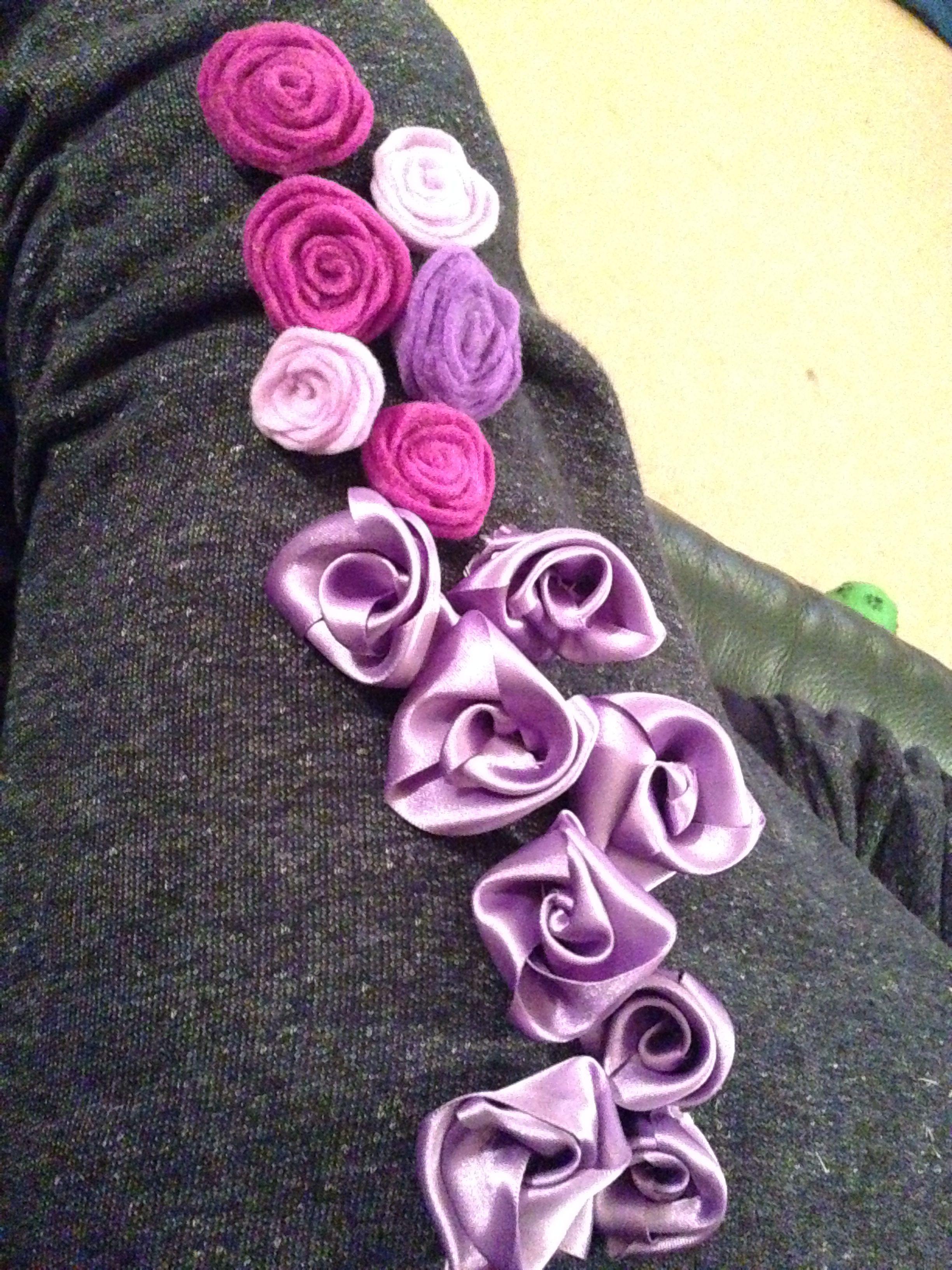 Handmade flowers with satin ribbon and felt