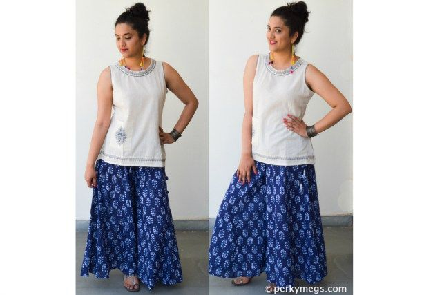 cf6daf5bbe2 How to Style Printed Palazzos Indo western Palazzo Pants Style Perkymegs.  Palazzo with short kurti