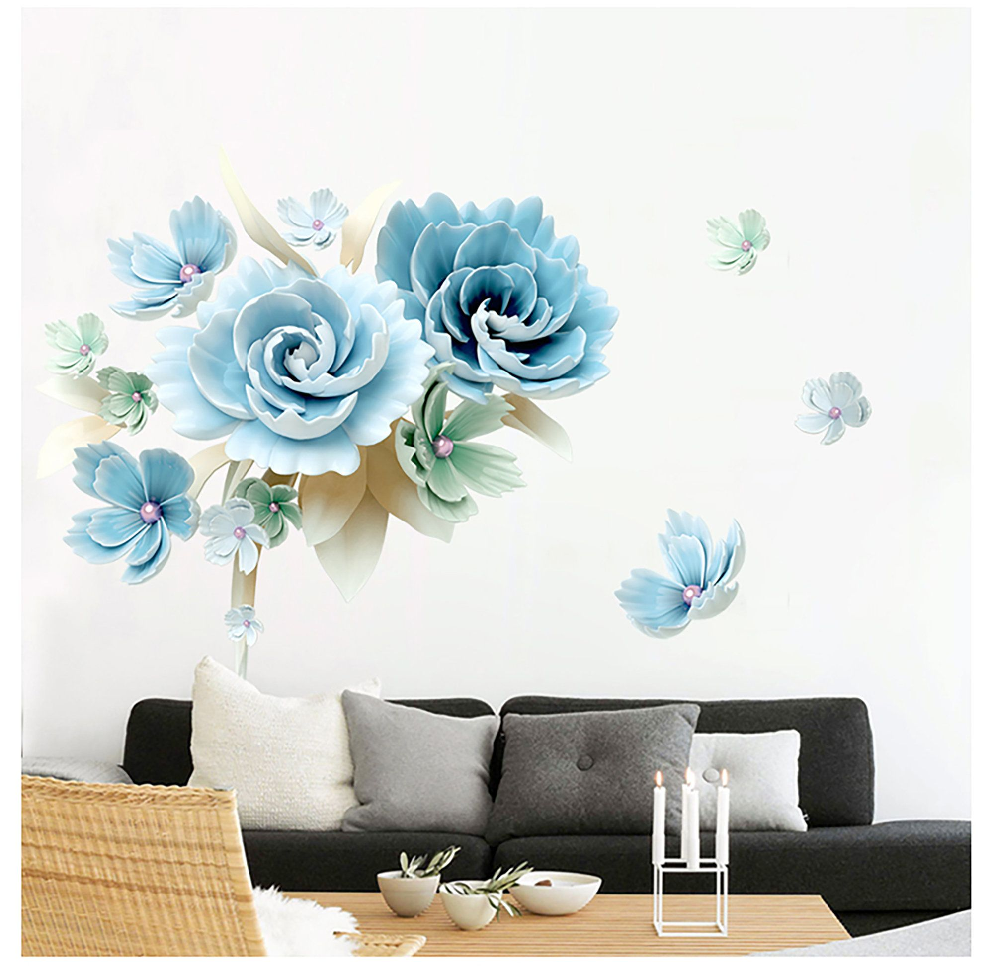 fresh succulent blue flowers wall sticker living room tv on wall stickers for living room id=36023