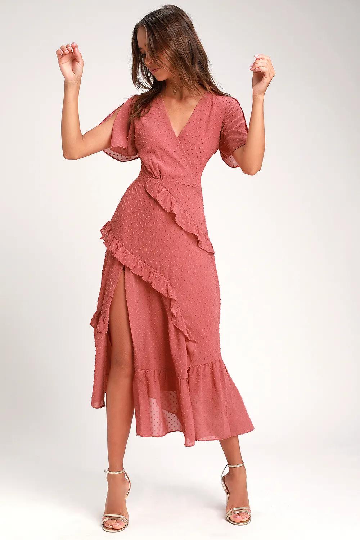 Next To You Rusty Rose Swiss Dot Ruffled Midi Dress In 2021 Midi Ruffle Dress Midi Dress Swiss Dot Dress [ 1500 x 1000 Pixel ]