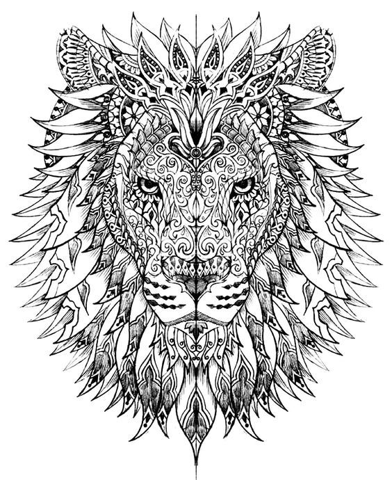 free coloring page coloring adult difficult lion head