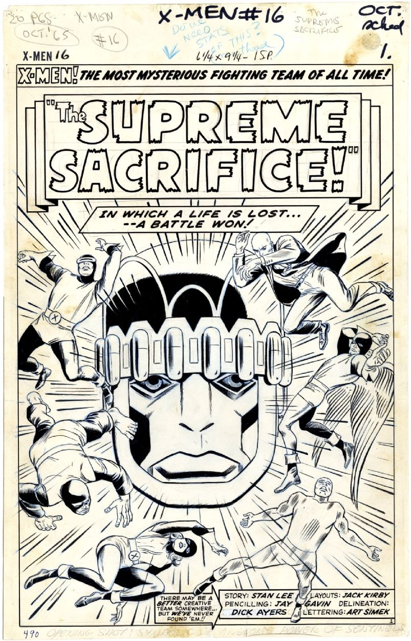 X-Men #16, page 1 comic art title page by Jack Kirby, Werner Roth ...