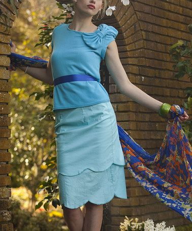 Blue Bluebell Skirt #zulily #shabbyapple #ad *Love the Monochromatic