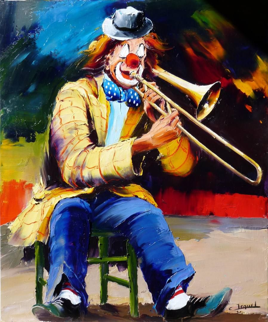 clown playing trombone christian jequel more on clowns carnivals marionettes board. Black Bedroom Furniture Sets. Home Design Ideas