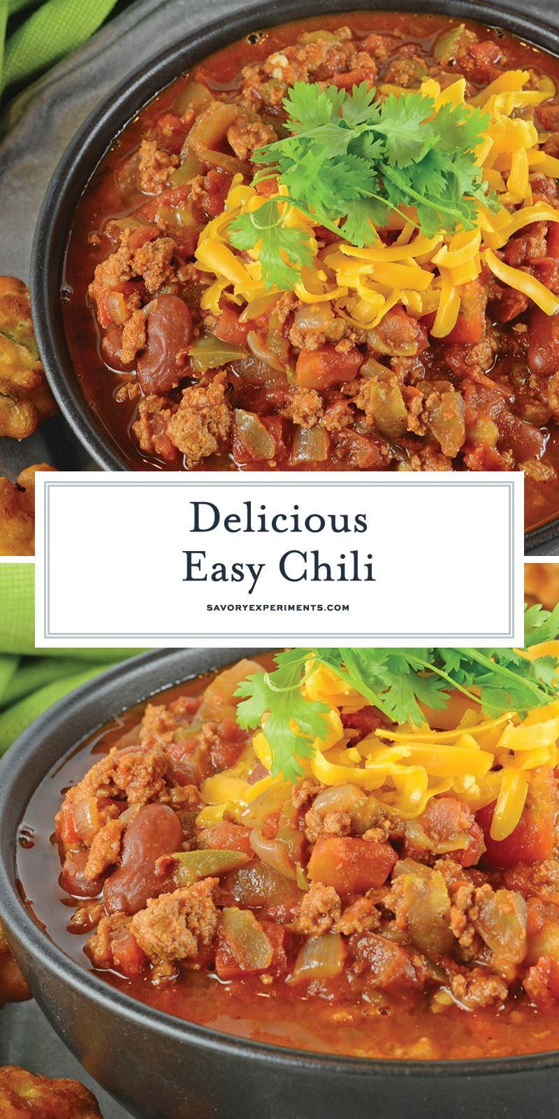 Easy Chili Is A Spicy Mix Full Of Ground Beef Italian Sausage And Vegetables But The Secret Ingred Beef Soup Recipes Spaghetti Recipes Easy Best Chili Recipe