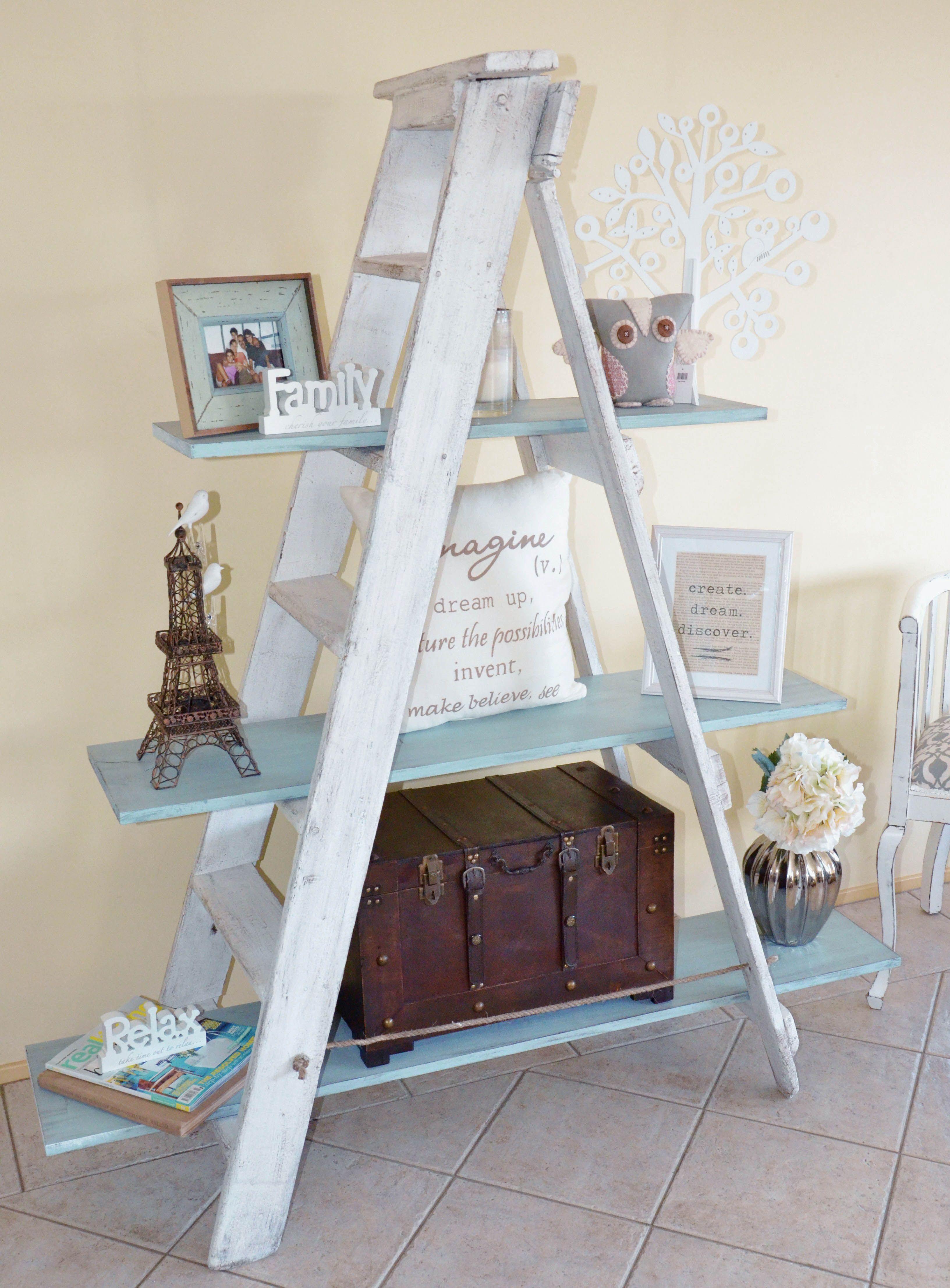 Rustic Ladder Shelf White Duck Egg Blue Www Facebook Com Spicetospace Ladder Shelf Decor Old Ladder Decor Wooden Ladder Decor
