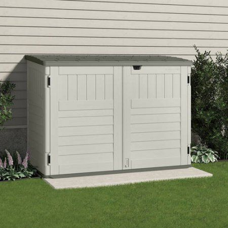 Walmart Trash Cans Outdoor Gorgeous Suncast Toter Trash Can Shed Sand  Walmart  Outdoor Space