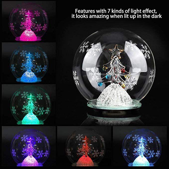 Amazon Com Zerodis Led Snow Globe Christmas Tree Glass Ball With
