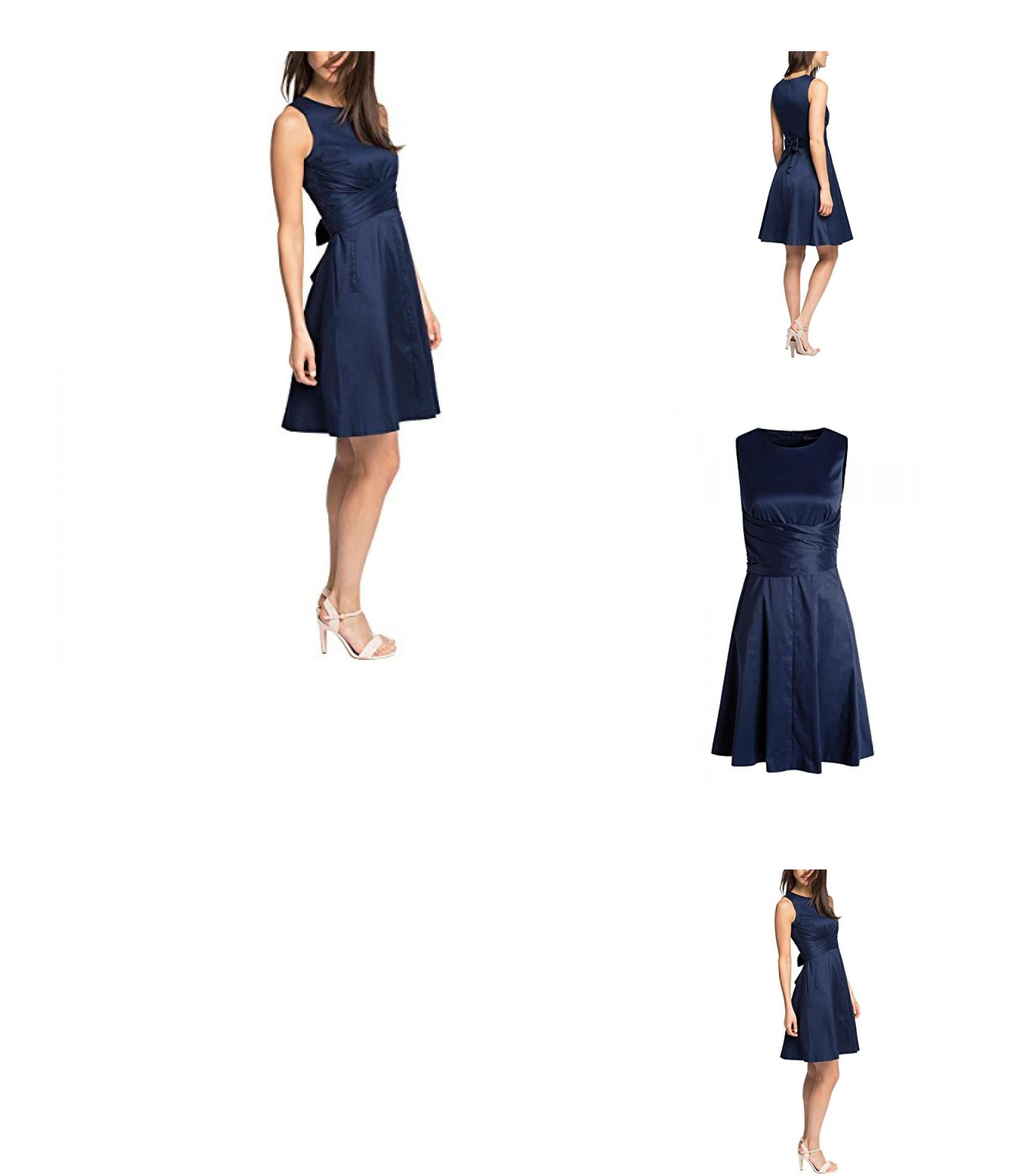 4056896224637 | #ESPRIT #Collection #Damen #A-Linie #Kleid mit #seidigem #Glanz, #Knielang, #Gr. #34, #Blau #(NAVY #400)