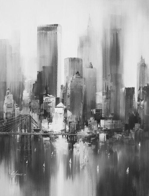 Ville Noir Et Blanc Peinture Abstraite Tableau Peinture Et
