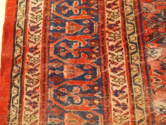 Vintage Persian Rug Remnant Free Ship By Divinefindboutique Vintage Persian Rug Persian Rug Rugs
