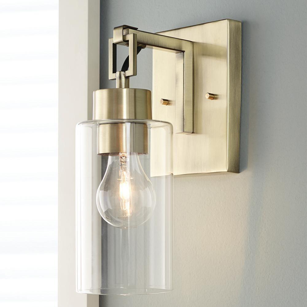 Monteaux Lighting 1 Light Antique Brass Retro Sconce Pd5 The Home Depot In 2020 Sconces Brass Bathroom Sconce Bronze Sconces