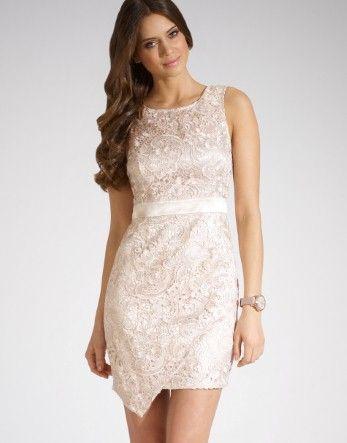Lipsy Lace Asymmetric Hem Dress