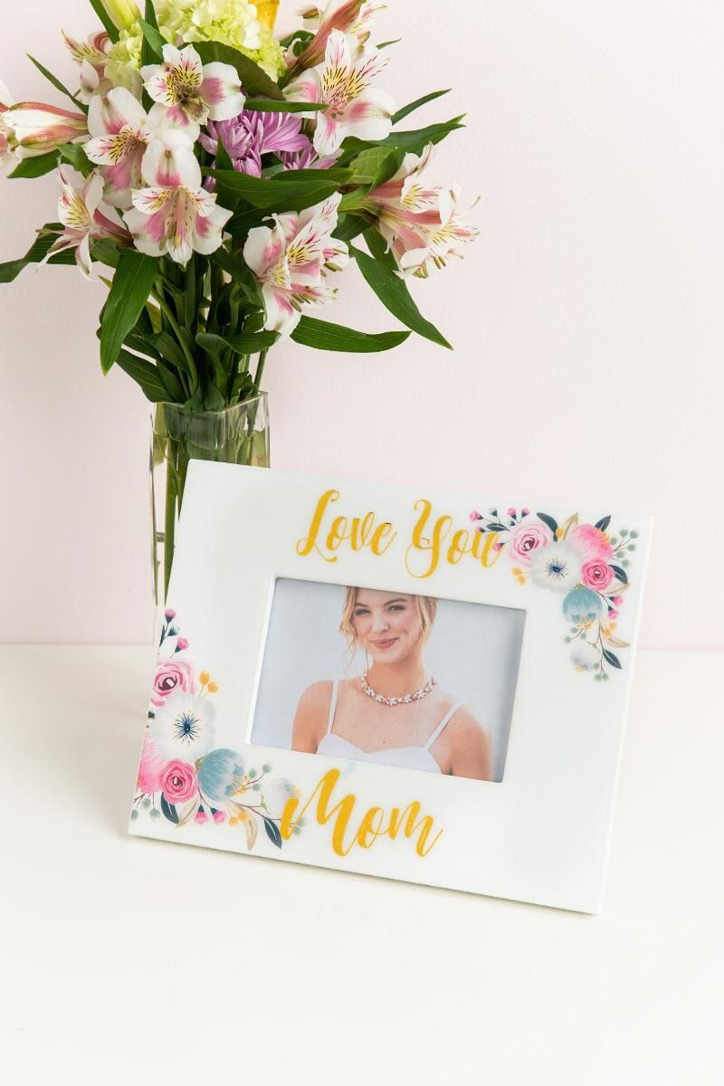 Love You Mom Floral Picture Frame | party ideas | Pinterest | Floral ...