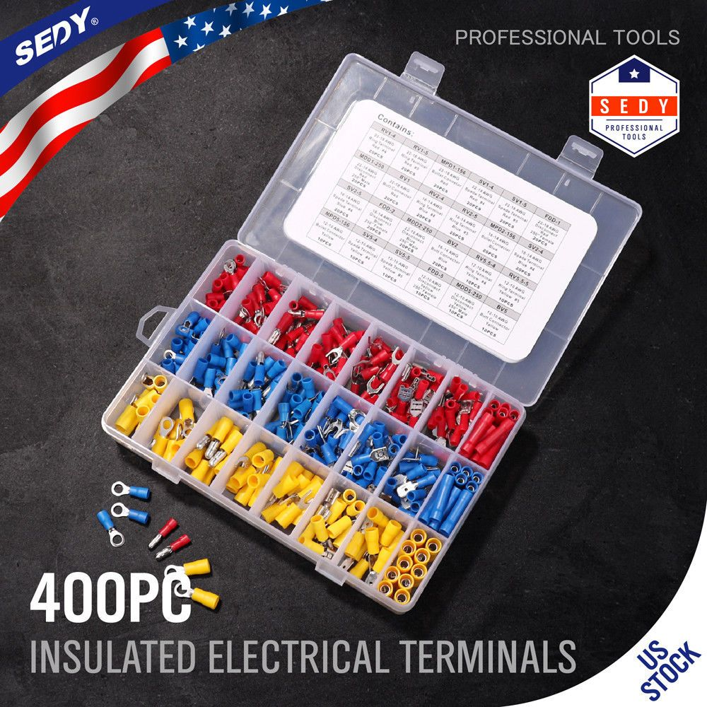 11 99 Assorted Electrical Wiring Connectors Crimp Terminals Set Kits Insulated 400pcs Ebay Electronics Products Electronics Electrical Wiring Audio