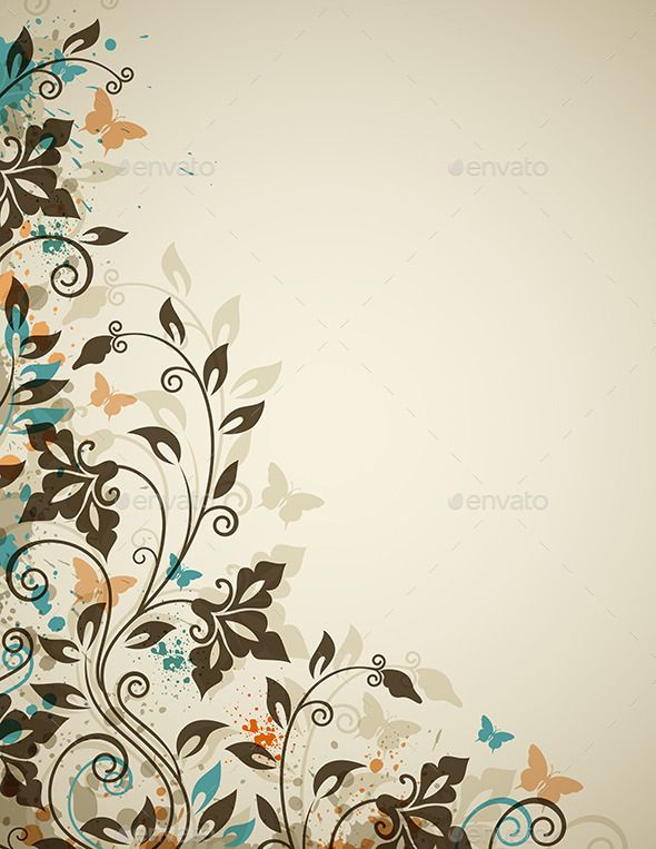Decorative Vintage Background With Flowers Floral Background Background Vintage Vector Flowers