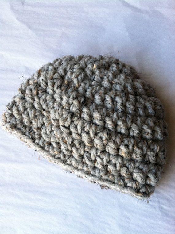 Crochet Baby Hat in Bulky Gray Yarn Newborn by LakeviewCottageKids, $18.00