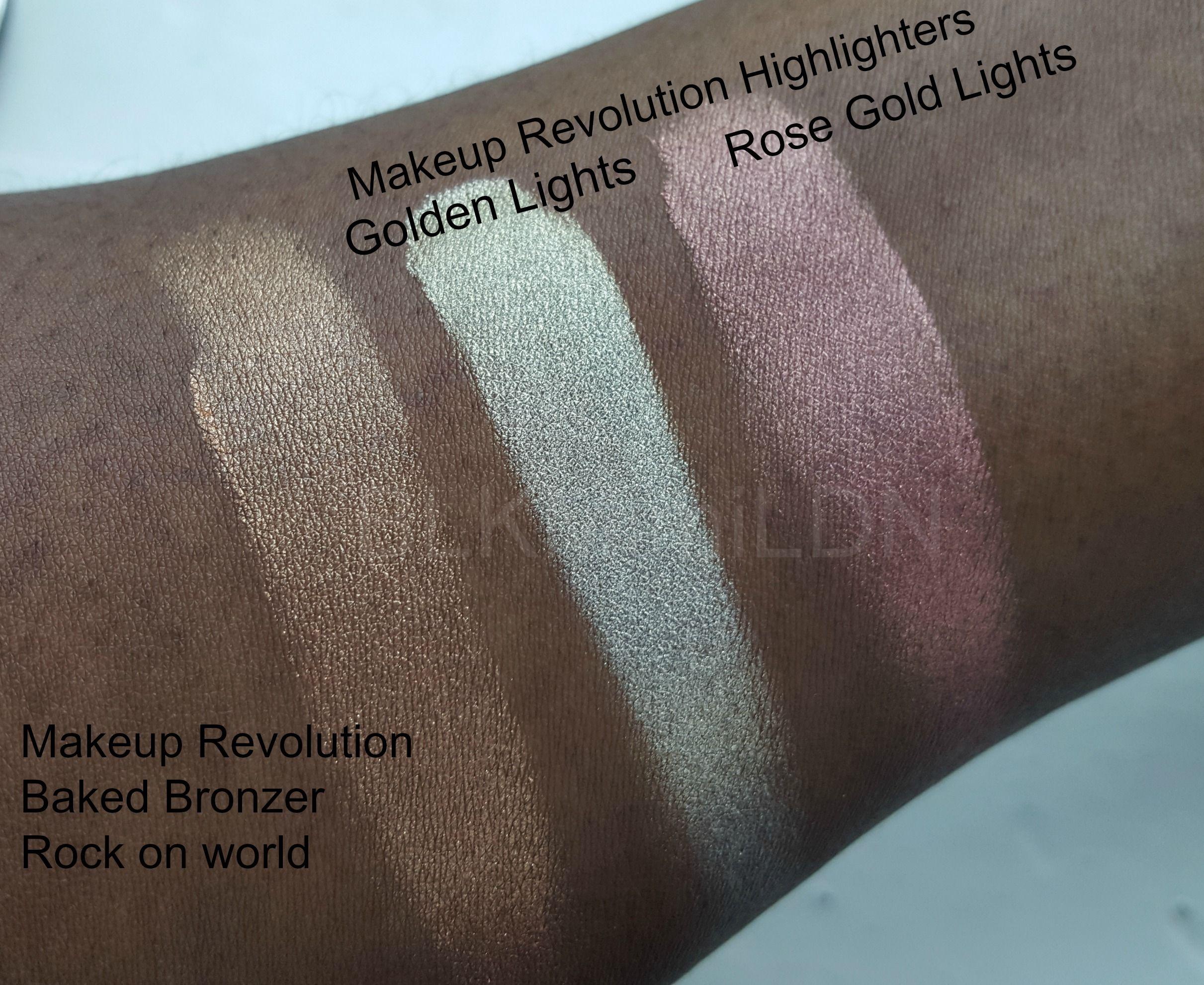 Makeup Revolution Bronzer & Highlighter Swatched on dark