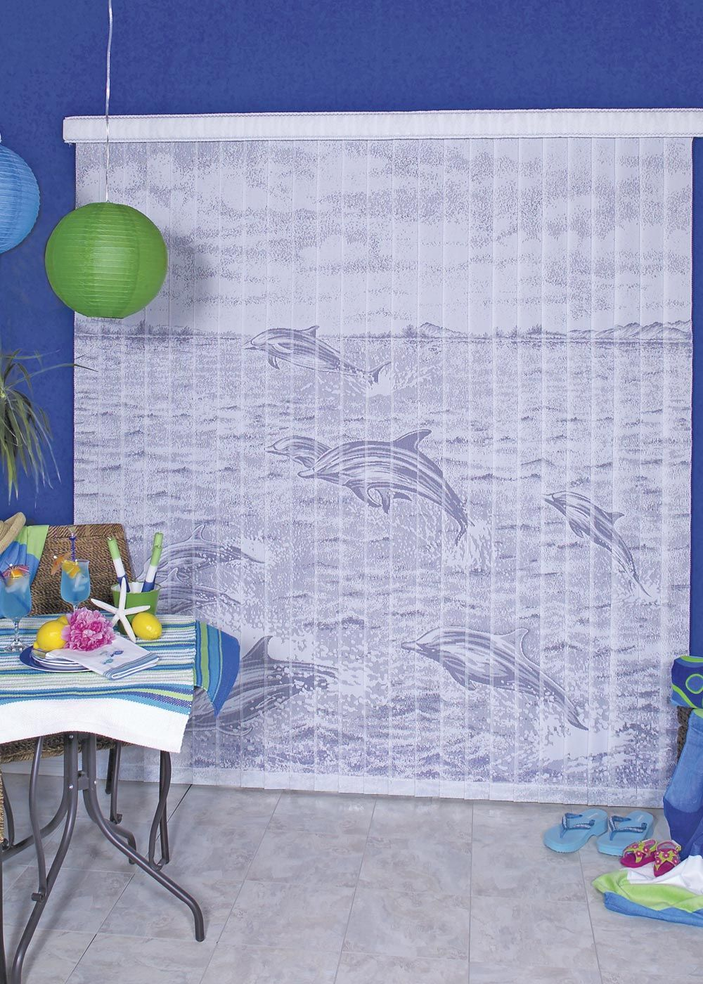 A unique alternative to your everyday blinds - use these attractive Dolphin Designer Blinds to accent your tropical designed three season porch! #decorative