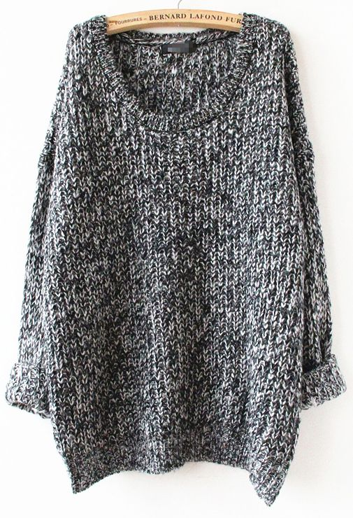 Grey Long Sleeve Loose Sweater | Loose sweater, Gray and Loose ...