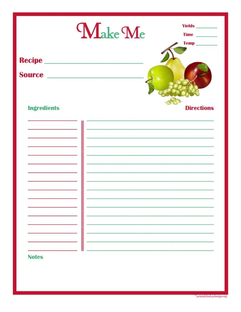 Printable Time Card Template Mixedfruitrecipecardfullpage  Printables  Pinterest  Recipe .