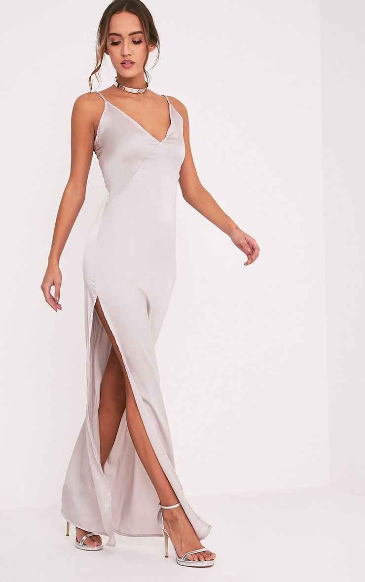 Carsia Silver Silky Cami Slip Maxi Dress Image 1 | Bridesmaids for ...