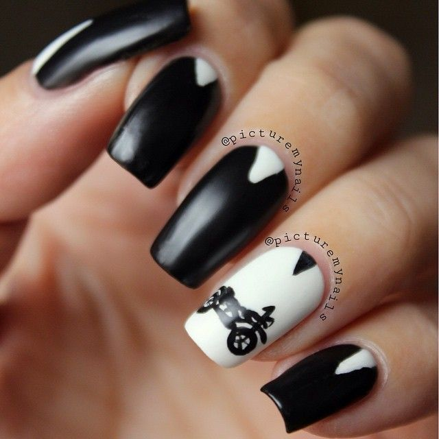matte black and white motorcycle nail design by picturemynails #fav ...