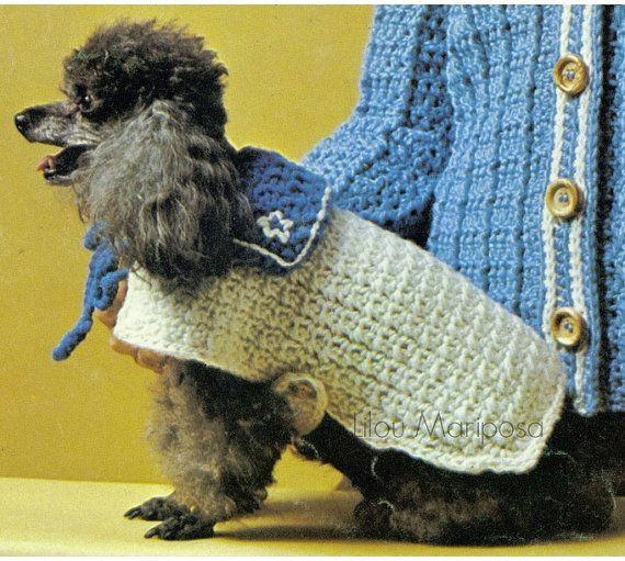 Crochet Dog Costume Pattern Vintage 70s Sailor Dog Sweater Pattern ...