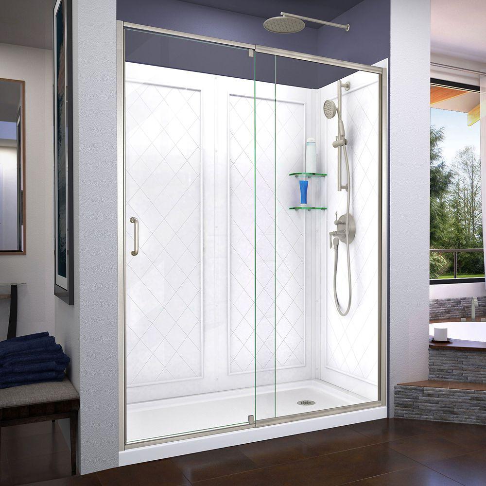 Flex 34 Inch D X 60 Inch W Shower Door In Brushed Nickel With