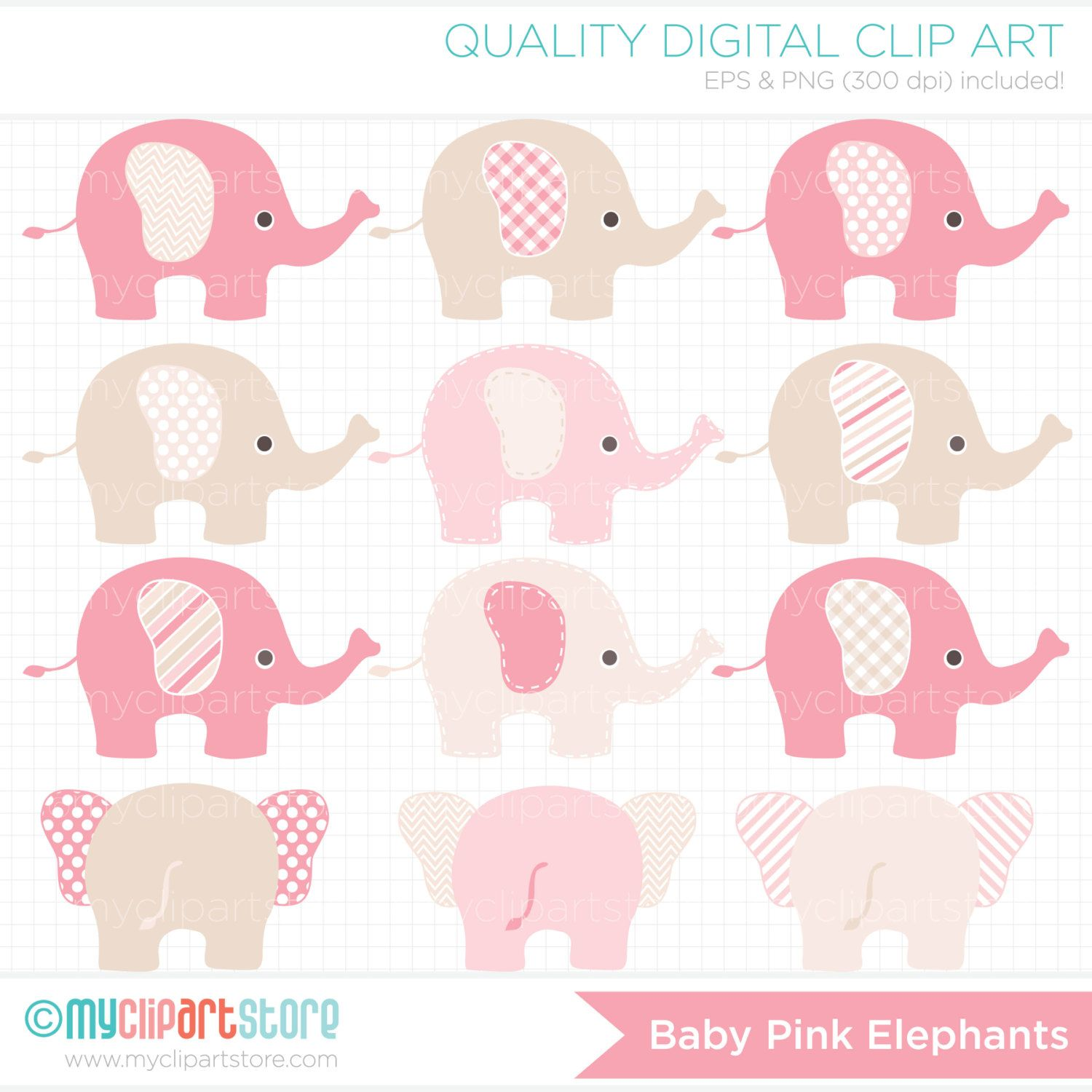 Baby Pink Elephants / Pink and Brown Elephant di MyClipArtStore
