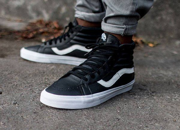 black leather vans sk8 hi