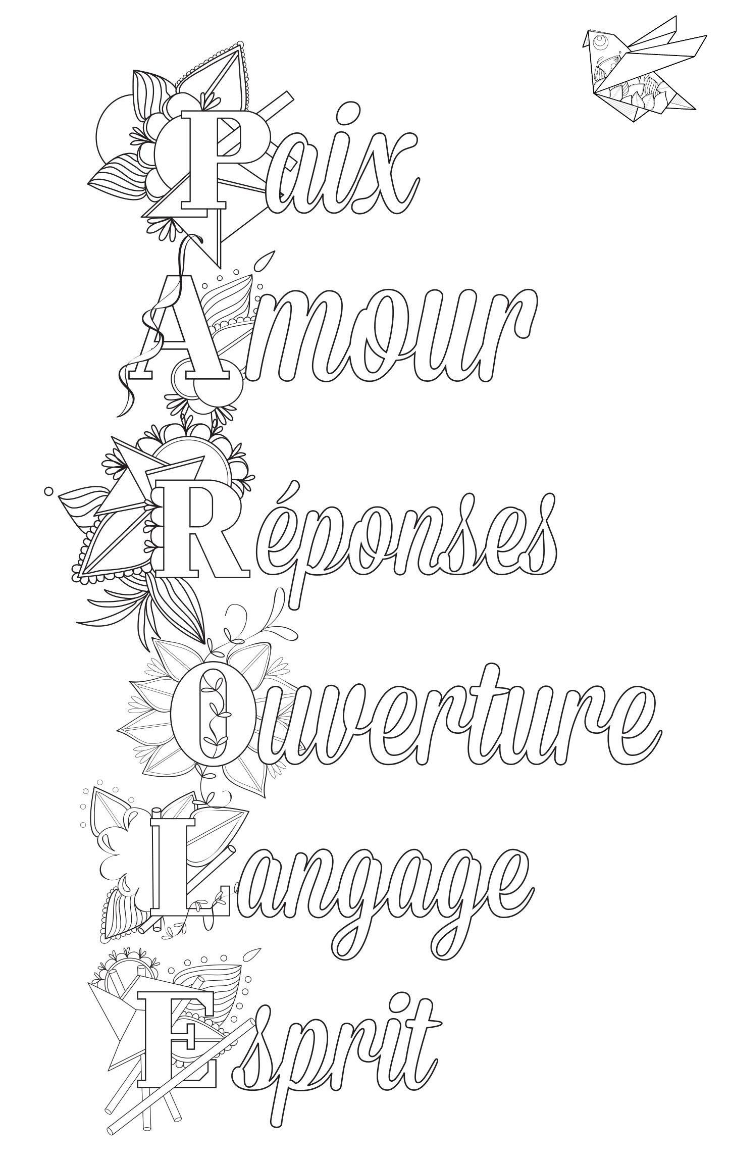 Messages  colorier Lisa Magano coloriage antistress  imprimer