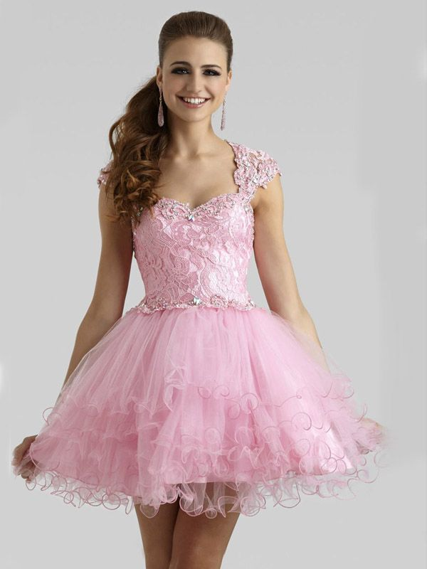 Ball Gown Off-the-shoulder Sleeveless Tulle Homecoming Dress/Short Prom Dresses With Beaded #BK344