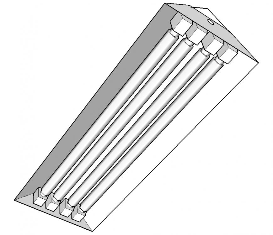 Light Fluorescent Light 3d Drawing In Skp File Cadbull In 2020 Fluorescent Light 3d Drawings Fluorescent