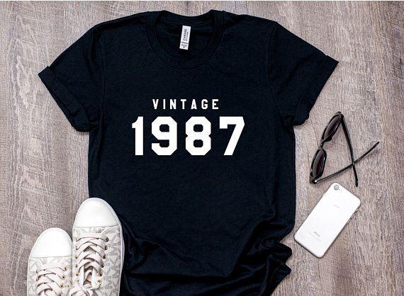 Made In Year 1987 80s T Shirt Birthday 31st Gift Birt