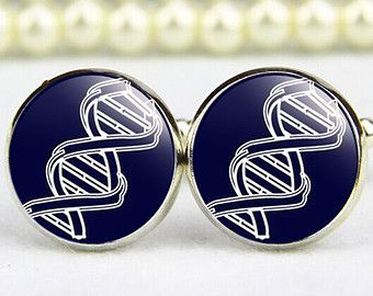 Double Helix DNA  argentium silver cuff links sterling silver Dna jewelry Ready to Ship