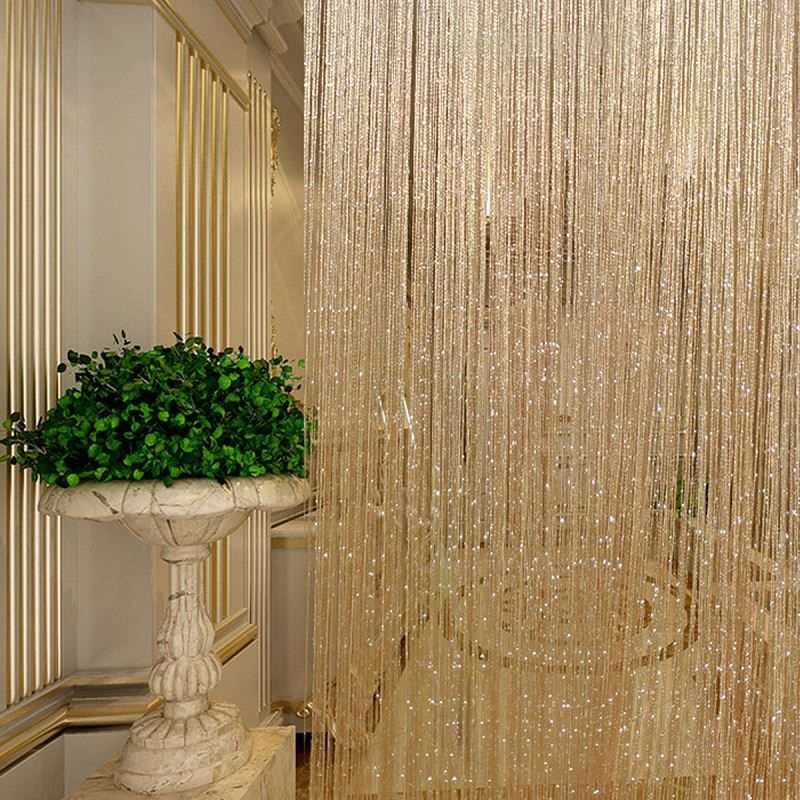 $4.53 Per Section   Tassel Glitter Curtains String Champagne For Living  Room Window Door Shower Curtain