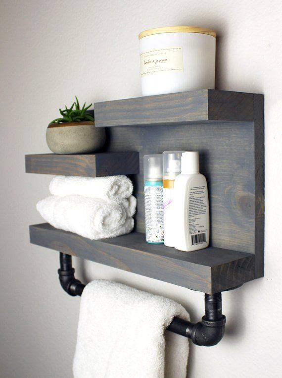 Photo of Bathroom Farmhouse Shelf with Pipe Towel Bar, Industrial Country Rustic Storage, Modern Farmhouse, Apartment Decor, Guest Storage