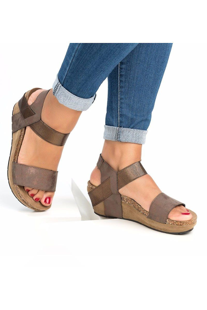 951e393b8584 Slip On Double Band Wedge Sandals in 2019