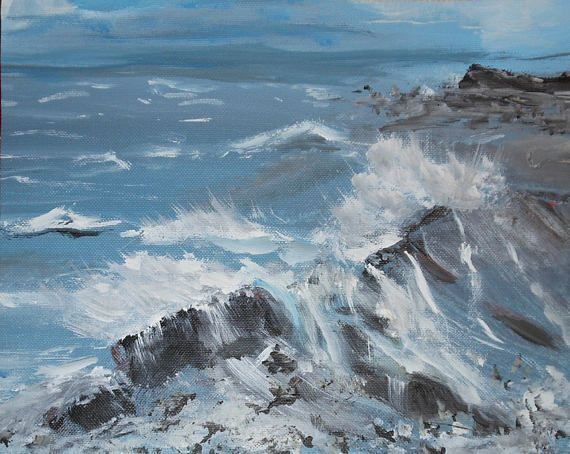 vintage Maine oil painting study sea rocks and water waves