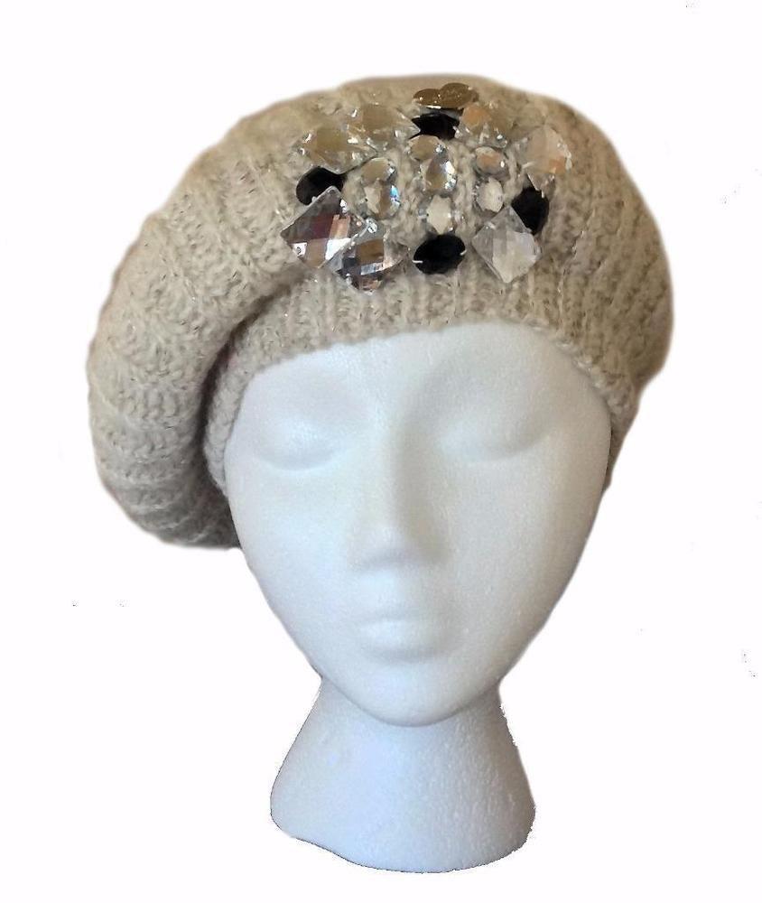 0b9ffbc779e Betsey Johnson Ice Princess Lurex Crystal Jewels Beret Winter Cable Knit  Cream  BetseyJohnson  SlouchyBeretWinterHatCap