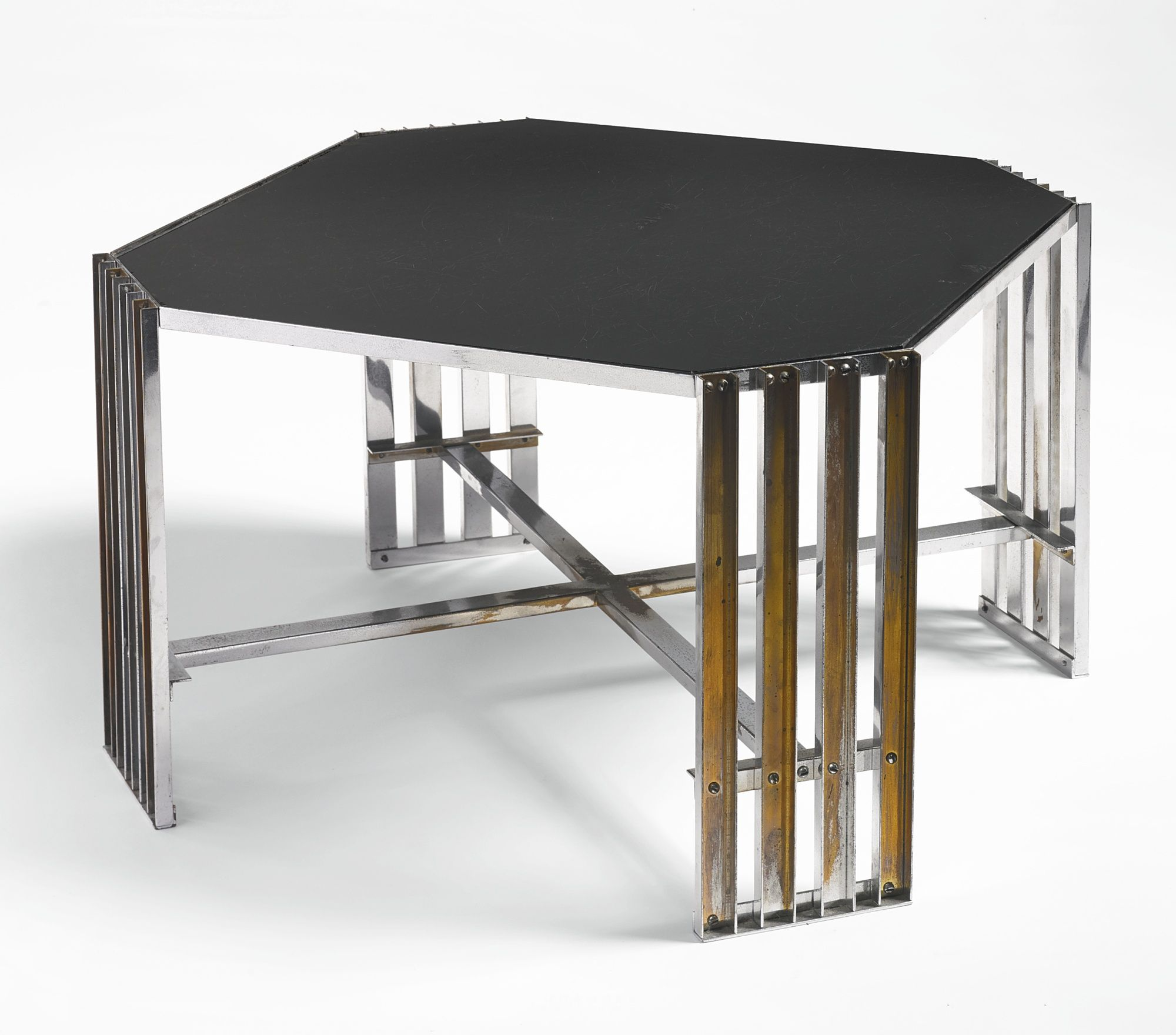 Donald Deskey Cocktail Table Chromium Plated Brass And Vitrolite  # Muebles Tubulares Ponce