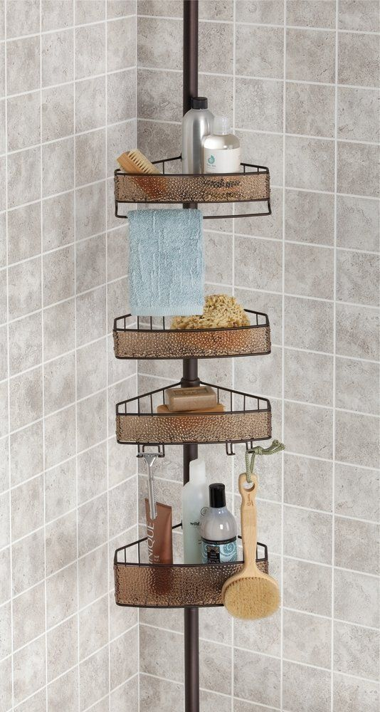 mDesign Bathroom Shower Tension Caddy for Shampoo, Conditioner, Soap ...