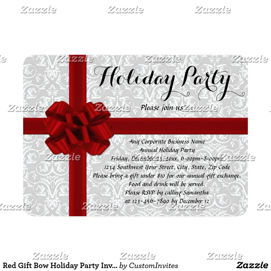 Red Gift Bow Holiday Party Invitations Elegant yet modern theme with ...