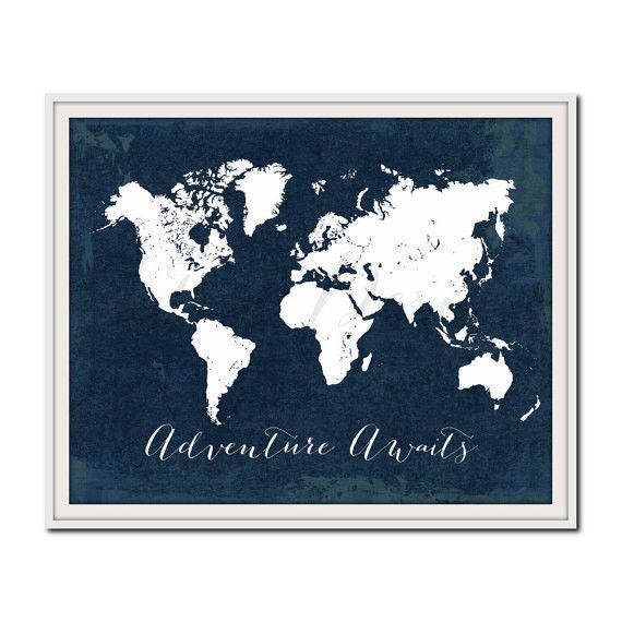 Navy nursery print world map print travel poster adventure navy nursery print world map print travel poster adventure awaits travel quote gumiabroncs Images