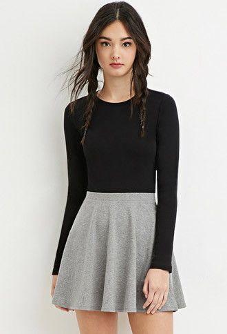 Black Top Grey Skater Skirt Fashion Pinterest Outfits