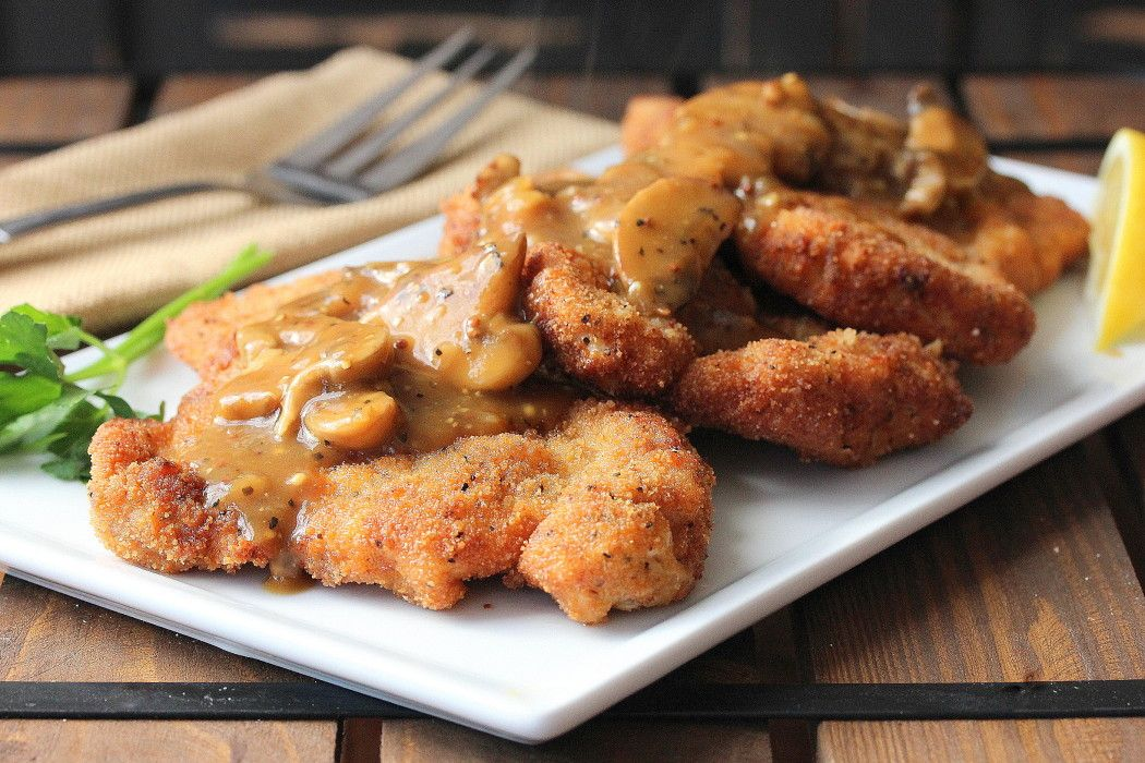 German Schnitzel With Mushroom Gravy How To Feed A Loon Recipe Schnitzel Recipes Pork Schnitzel Pork Recipes